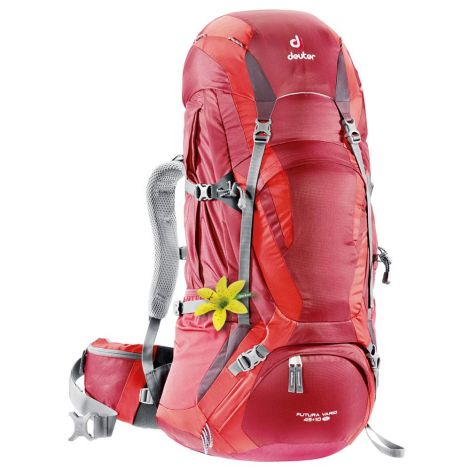 Mochila Hiking Deuter Futura Vario 45 + 10 SL cranberry-fire Rojo